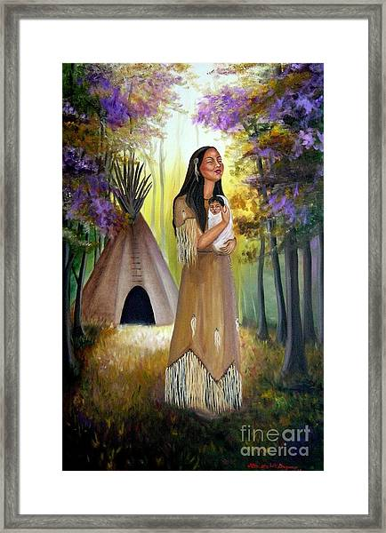 Native American Mother And Child Framed Print