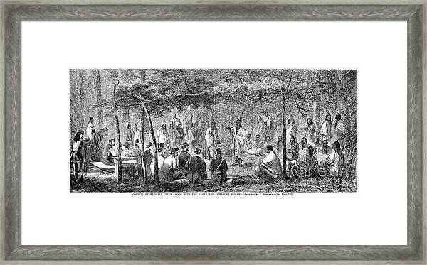 Native American Peace Council, 1867 Framed Print