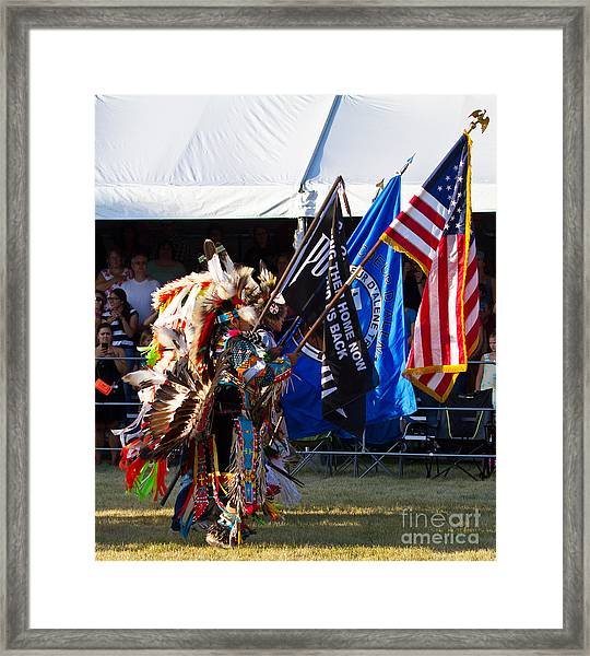 Native Flag Ceremony Framed Print by Scarlett Images Photography