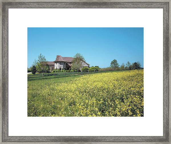 Natural View Of House And Field Framed Print