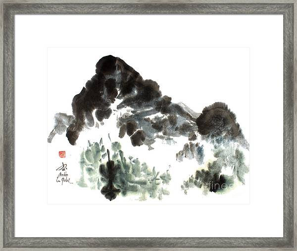 Nature Mountain Painting Framed Print by Nadja Van Ghelue