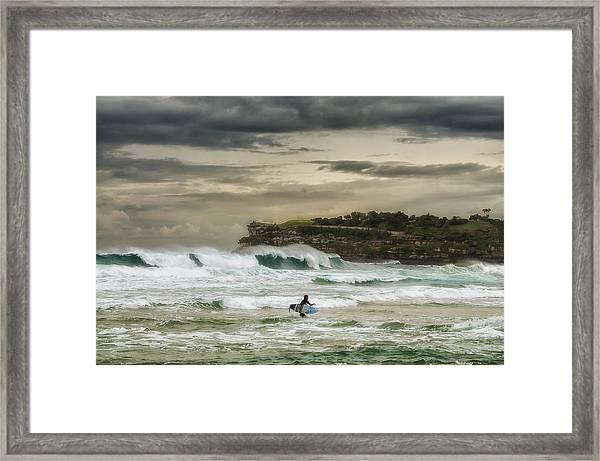 Natures Fury Surfers Paradise - Bondi Beach - Australia - Colour Framed Print