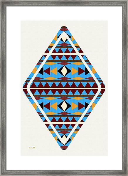 Navajo Blue Pattern Art Framed Print