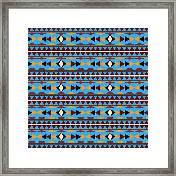 Navajo Blue Pattern Framed Print