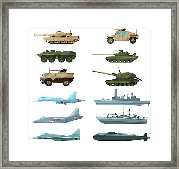Naval Vehicles, Airplanes And Different Framed Print