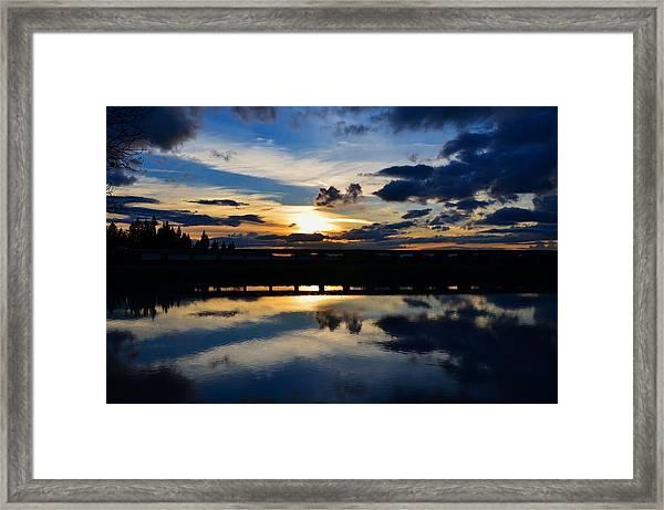 Navy Blue Sunset Framed Print