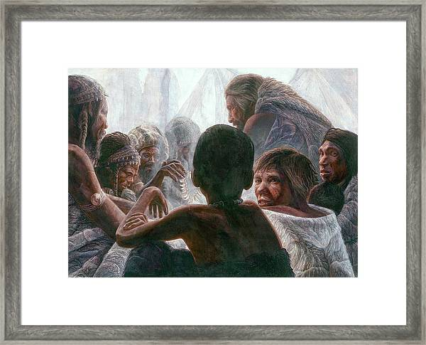 Neanderthals With Modern Humans Framed Print by Kennis And Kennismsf
