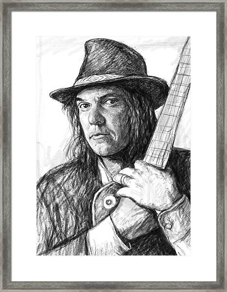 Neil Young Art Drawing Sketch Portrait Framed Print