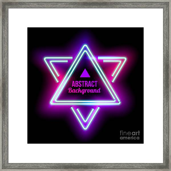 Neon Abstract Triangle. Glowing Frame Framed Print