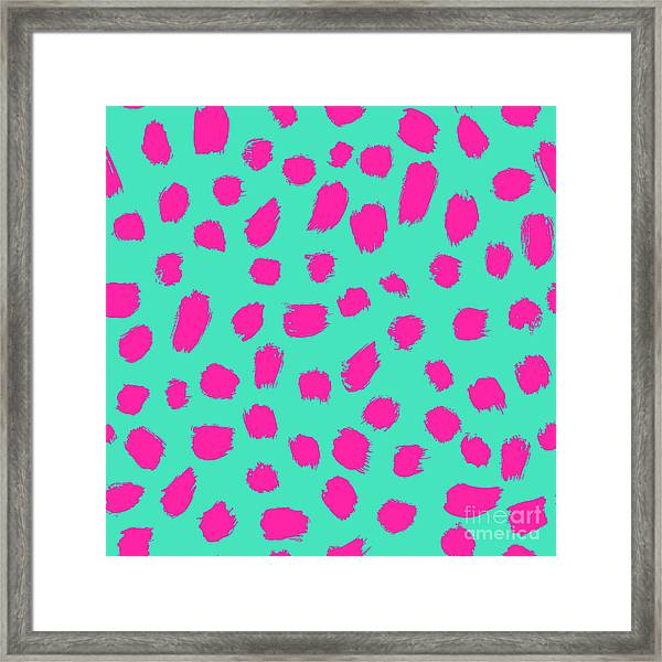 Neon Brush Seamless Pattern Background Framed Print