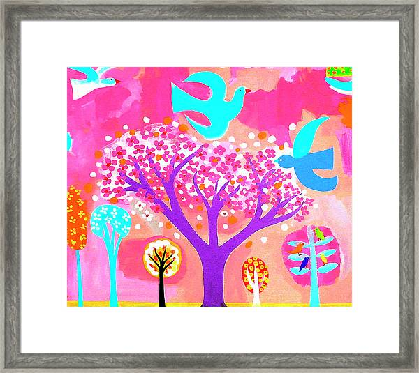 Neon Colored Birds And Flowering Trees Framed Print by Christopher Corr
