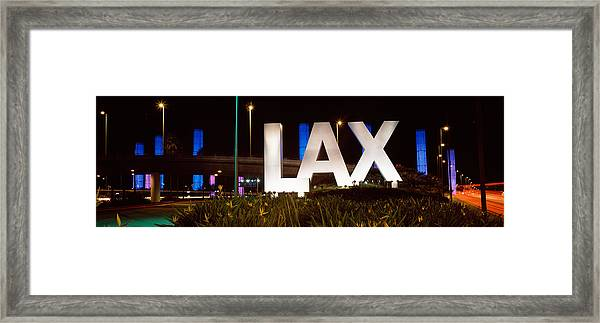 Neon Sign At An Airport, Lax Airport Framed Print