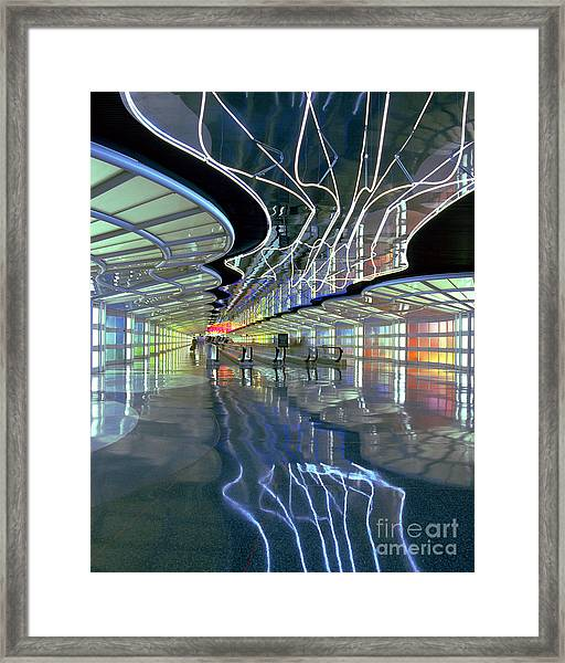 Neon Walkway At Ohare Framed Print