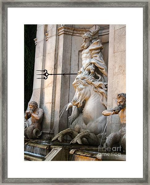 Neptune Fountain In Salzburg Austria - 01 Framed Print