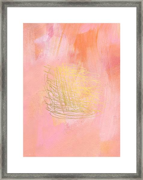 Nest- Pink And Gold Abstract Art Framed Print