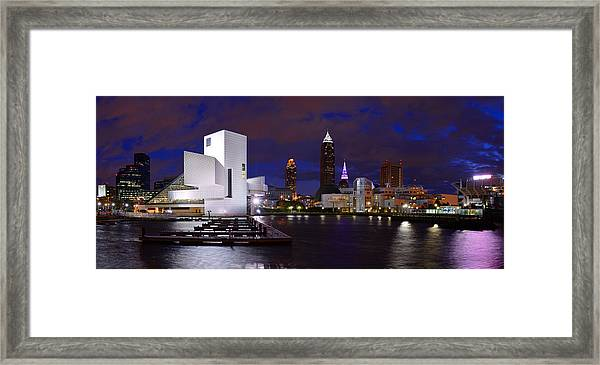 New Cleveland Waterfront With Storm Clouds Framed Print