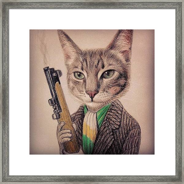 New Color Pencil Animal Cat Drawing Framed Print by Wind Z