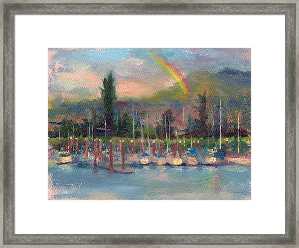 New Covenant - Rainbow Over Marina Framed Print