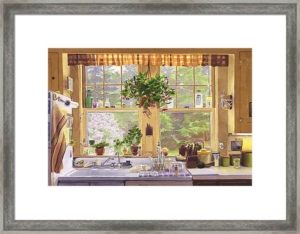 New England Kitchen Window Framed Print