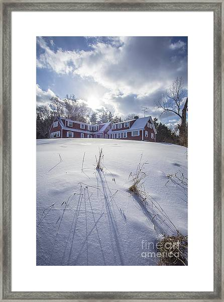 New England Red Farm House Winter Framed Print