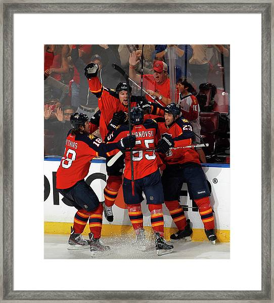 New Jersey Devils V Florida Panthers - Framed Print by Joel Auerbach
