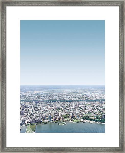 New Jersey Skyline From The Helicopter Framed Print