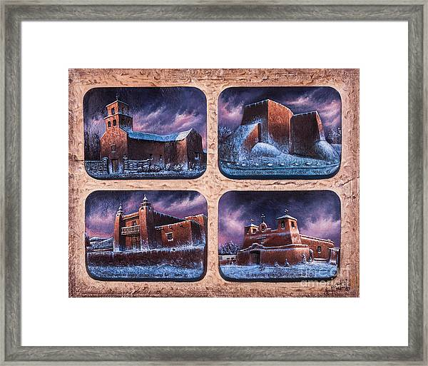 New Mexico Churches In Snow Framed Print