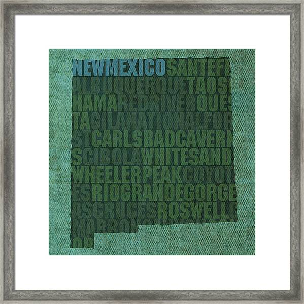 New Mexico Word Art State Map On Canvas Framed Print
