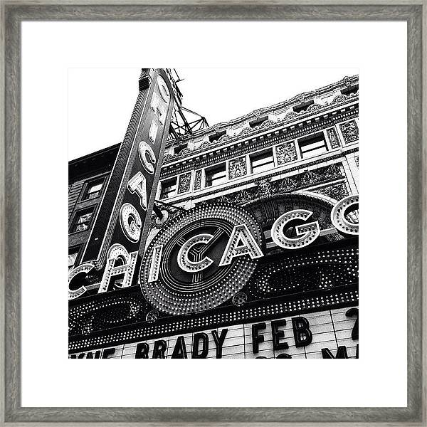 Chicago Theatre Sign Black And White Photo Framed Print