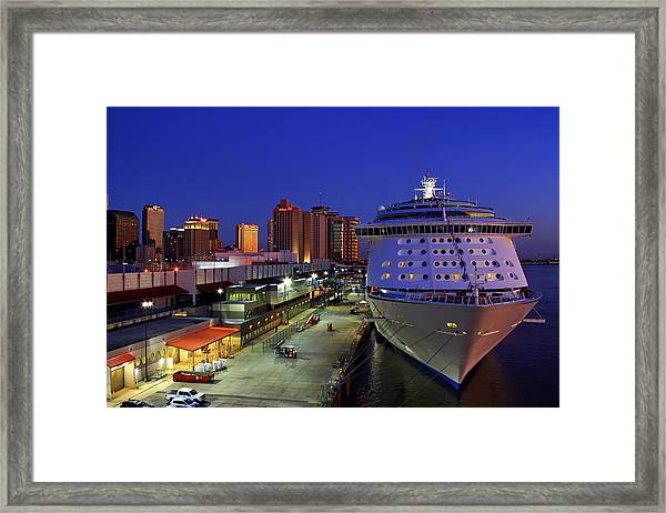 New Orleans Skyline With The Voyager Of The Seas Framed Print
