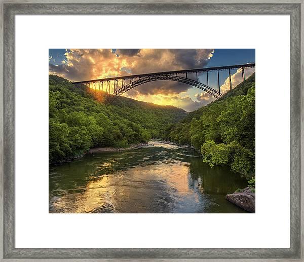 New River Evening Glow Framed Print