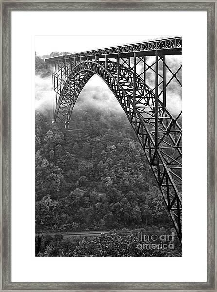 New River Gorge Bridge Black And White Framed Print