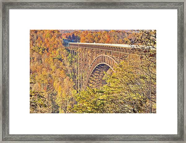 New River Gorge Single-span Arch Bridge In Autumn. Framed Print