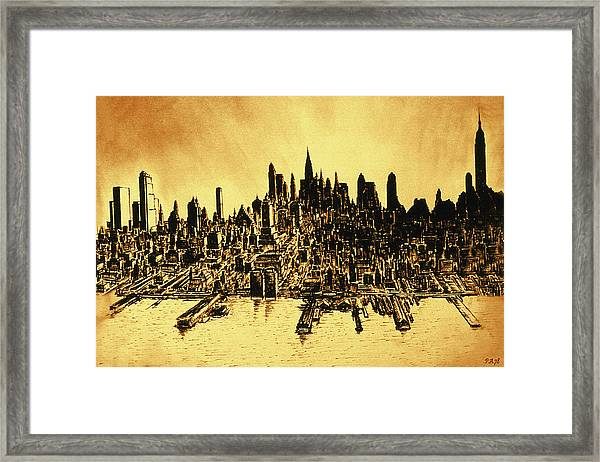 New York Skyline 78 - Mid Manhattan Ink Watercolor Painting Framed Print