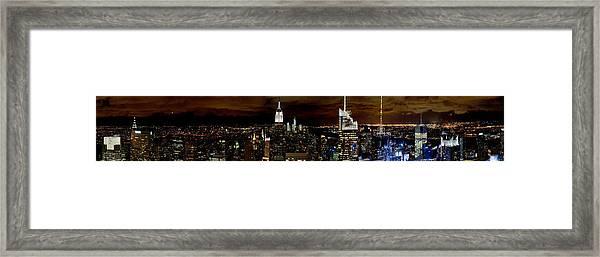New York At Night Panorama Framed Print