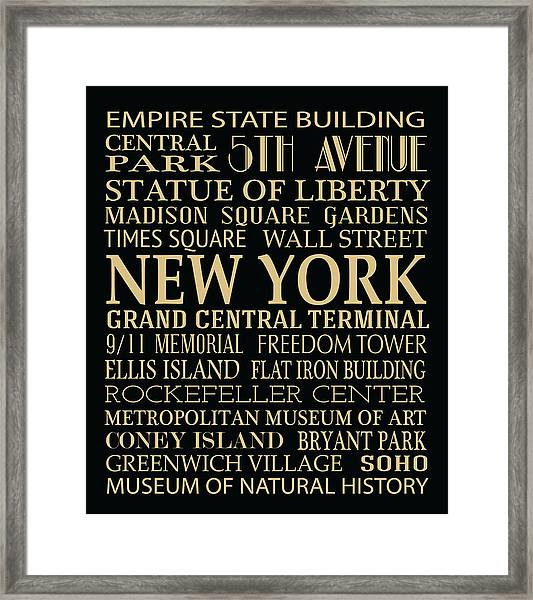 New York Attractions Framed Print