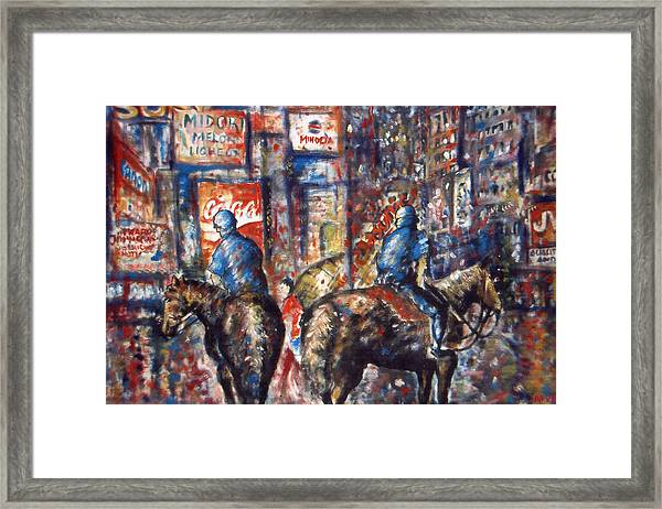 New York Broadway At Night - Oil On Canvas Painting Framed Print
