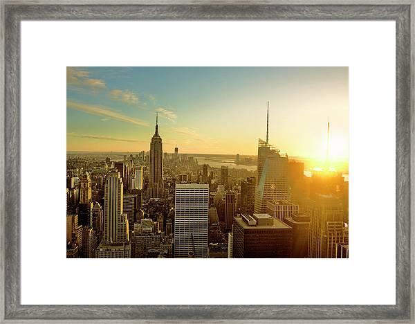 New York City At Sunset Framed Print