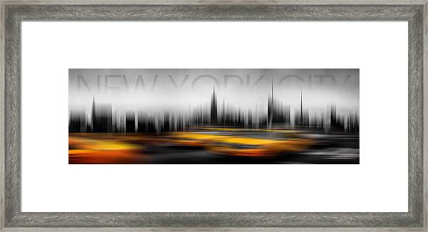New York City Cabs Abstract Framed Print