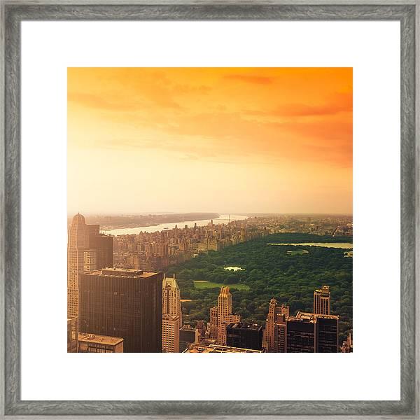 New York City Skyline And Central Park Framed Print