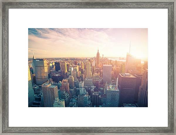 New York City Skyline At Sunset Framed Print