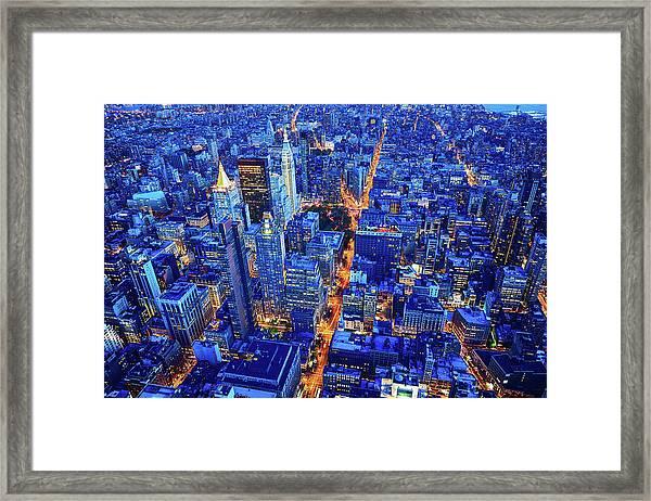 New York City Skyline, Manhattan, Usa Framed Print