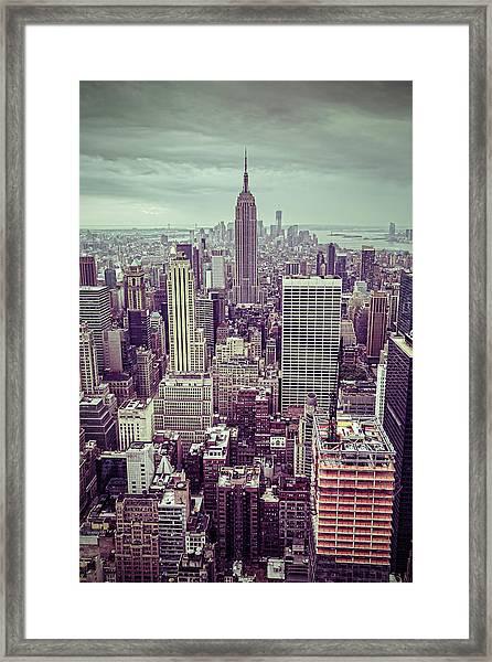 New York City Skyline, Usa Framed Print