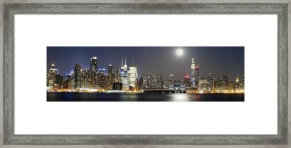 New York City Skyline With Full Moon Framed Print by Zev Steinhardt