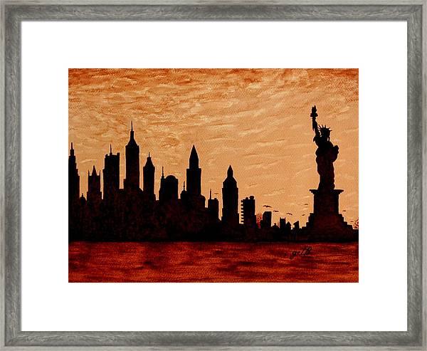New York City Sunset Silhouette Framed Print