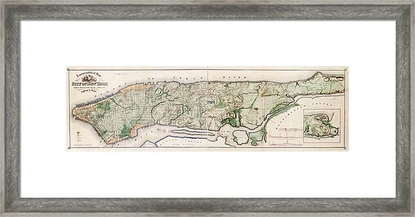 New York City Topography Framed Print by Library Of Congress, Geography And Map Division