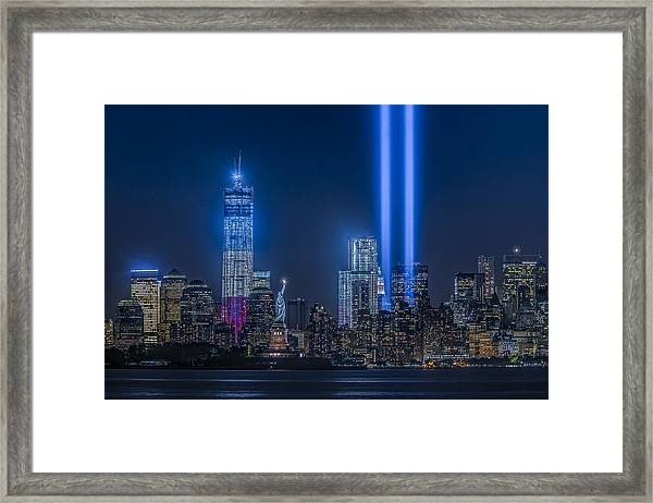 Framed Print featuring the photograph New York City Tribute In Lights by Susan Candelario