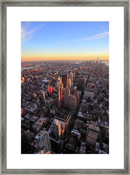 New York Cityscape At Sunset Framed Print