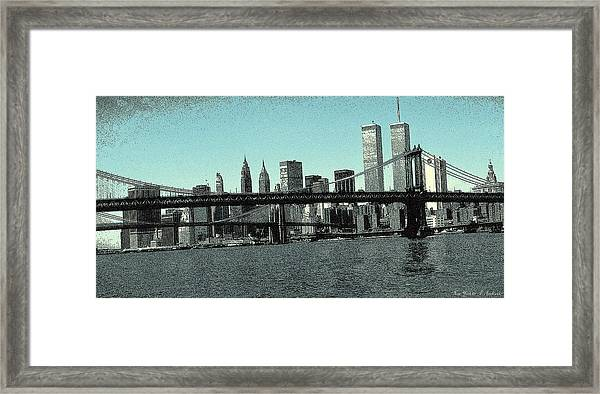 New York Downtown Manhattan Skyline - Blue Panorama Framed Print