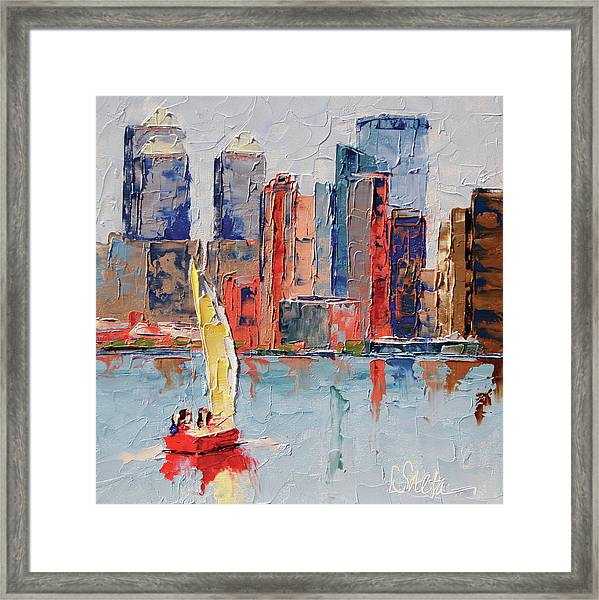 New York Harbor Framed Print by Leslie Saeta
